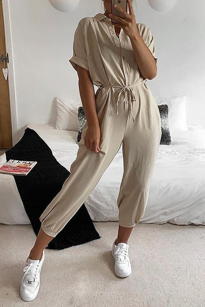 Button Pockets Drawsting Jumpsuit