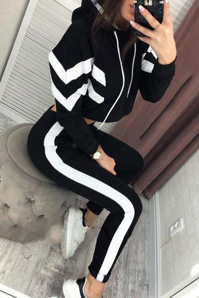 Stripe Crop Hoodie Pants Set