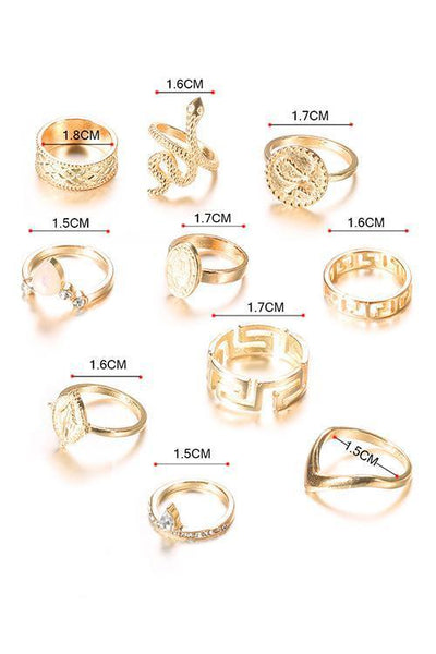 Buddha Snake Ring Set