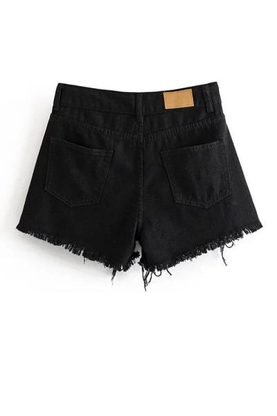 Crossover Ripped Denim Shorts