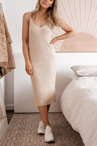 Knit V Neck Sleeveless Bodycon Dress