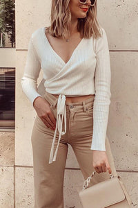 V Neck Long Sleeve Wrap Top