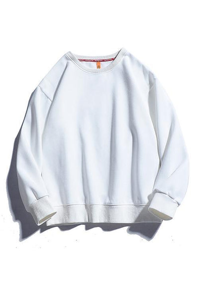 Solid O Neck Long Sleeve Hoodie