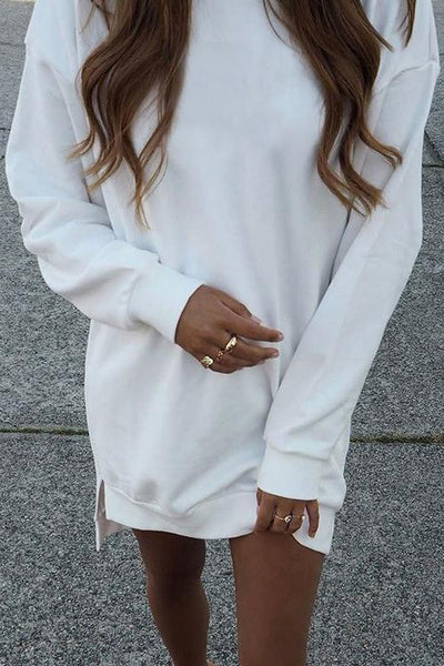 Classical Side Slit Hoodie Dress