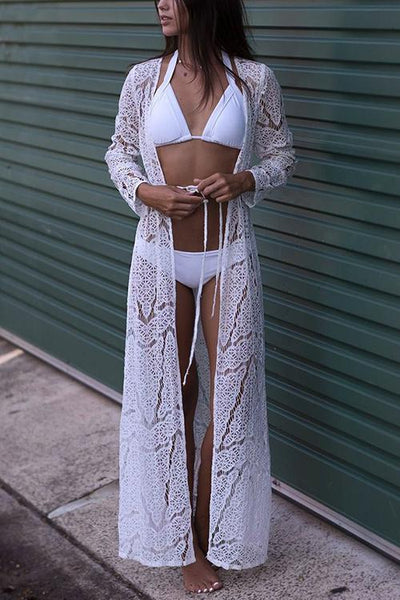 Lace Long Sleeve Cover Up