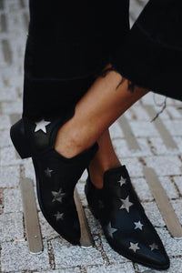 Star Print Low Heel Slip On Boots