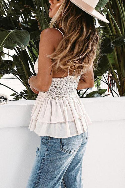 Crochet Lace Hollow Layer Ruffles Cami Top