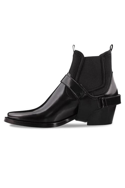Darci Black Hi Shine Ankle Boots