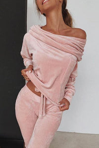 Off Shoulder Velvet Pants Set