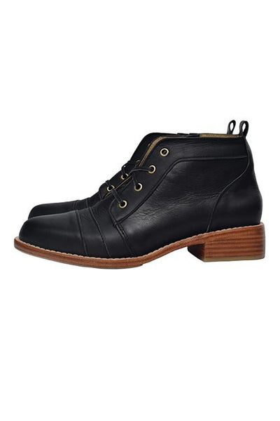 Side Zipper Lace Up Low Boots