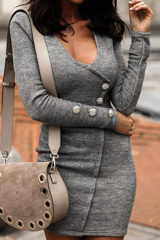 Button V Neck Sweater Bodycon Dress