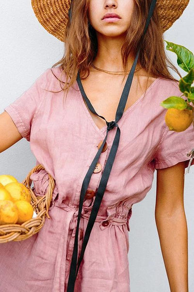 Button V Neck Short Sleeve Jumpsuit