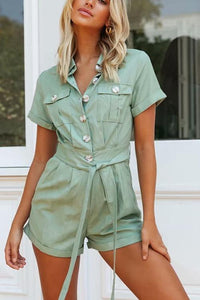 Button Belted Pockets Romper