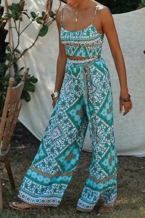 Floral Print Crop Pants Set