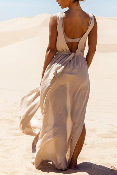 Backless Slit Maxi Cover Dress
