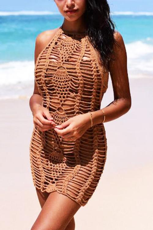 Hollow Crochet Cover Dress