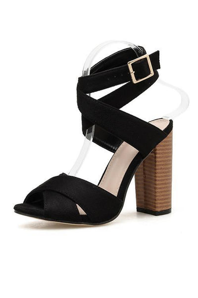 Cross Chunky Heel Sandals
