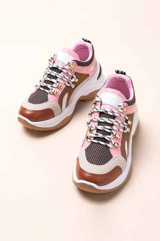 Chunky Platform Round Toe Lace-Up Sneakers