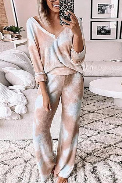Blooming V Neck Pants Set