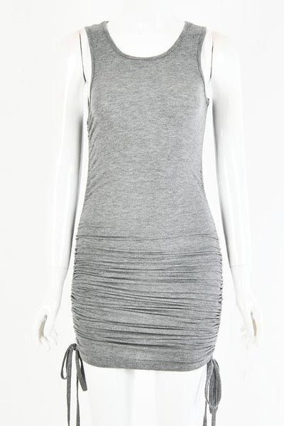 Drawstring Sleeveless Mini Dress