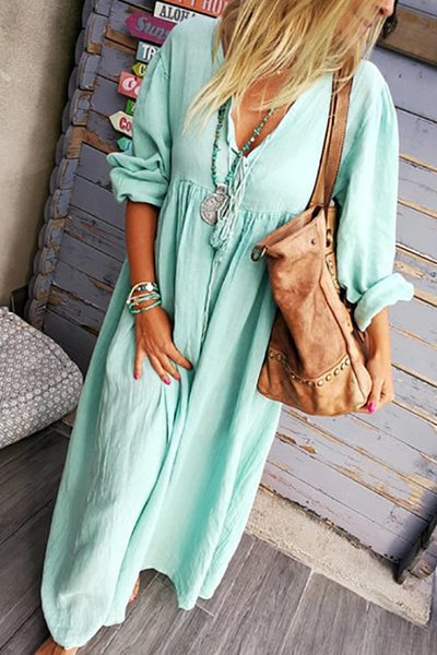 Solid V Neck Long Sleeve Loose Maxi Dress