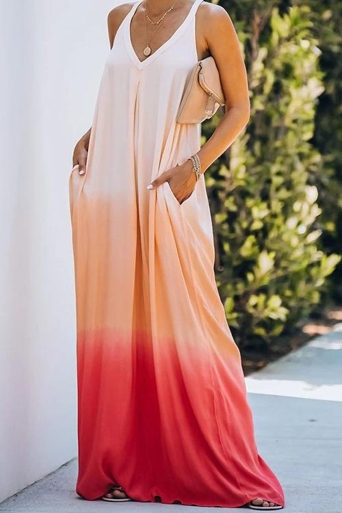 Tie Dye Pockets Slip Maxi Dress