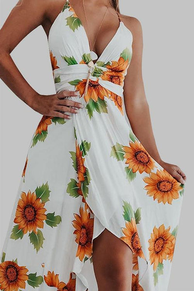 Sunflower Slit Backless Slip Dress