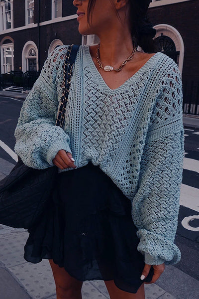 Hollow V Neck Puff Sleeve Sweater