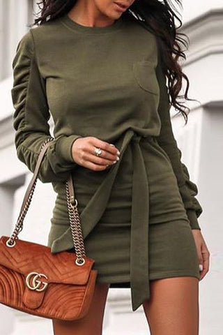 Wrinkle Long Sleeve Belted Mini Dress