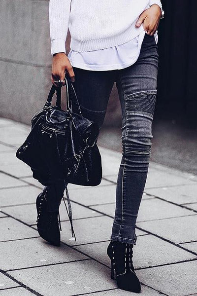 Side Zipper Skinny Pants