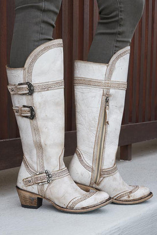 Goodness Sakes Alive, these boots are the best! Featuring below the knee, tall height and detailed buckles, these boots offer both unparalleled style and originality. Crafted out of genuine leather with signature Lane memory foam insole and Goodyear welt that will keep you walking comfortably long after the weekend.