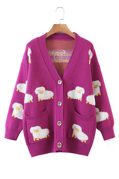 Sheep Pocket Button Cardigan