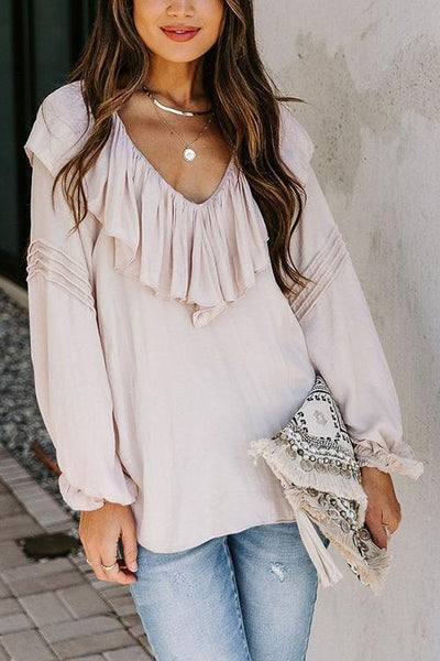 Ruffles V Neck Puff Sleeve Blouse
