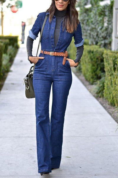 Deep V Neck Half Sleeve Jumpsuit