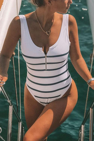 Stripe Zipper One Piece Swimwear