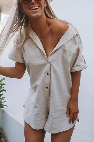 Button Short Sleeve Shirt Romper