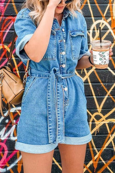 Pockets Button Belted Denim Romper