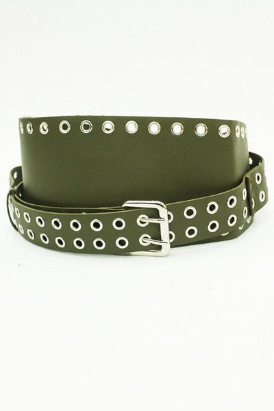 Hollow Leather Wide Belt