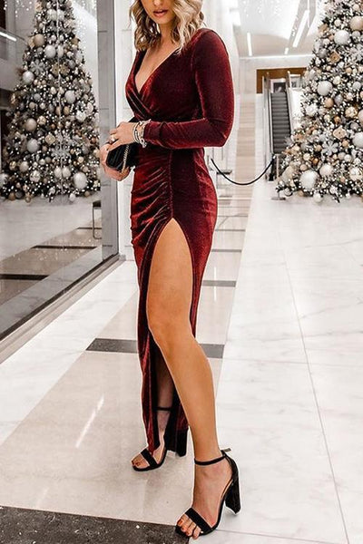 V Neck Slit Long Sleeve Velvet Dress