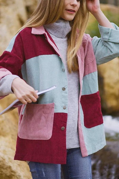 Color Block Corduroy Coat
