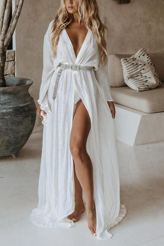 Solid Belted Cover Dress