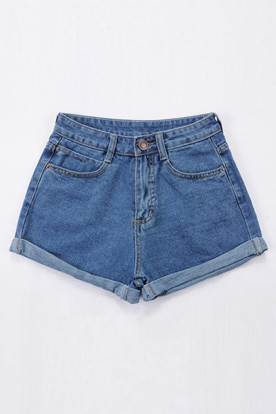 Classic Pocket High Waist Denim Shorts