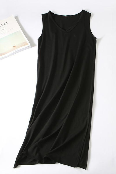 Classical V Neck Sleeveless Slit Dress