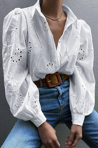 Pearl Button Embroidery Shirt