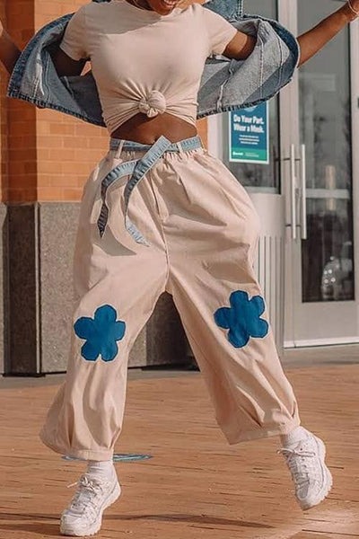 Elastic Flower Balloon Leg Pants