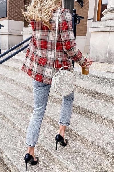 Red Plaid Double Breasted  Blazer