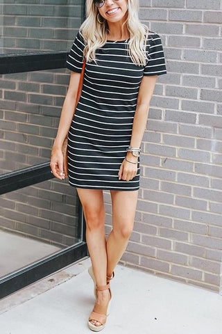Stripe O Neck Short Sleeve Mini Dress