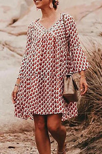 Print V Neck Loose Mini Dress