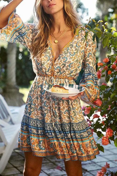 Floral Print Drawstring Mini Dress