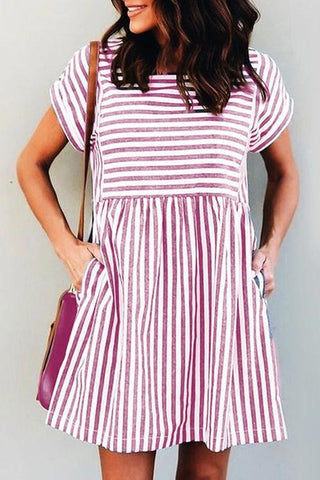 Stripe Short Sleeve Pocekts Mini Dress